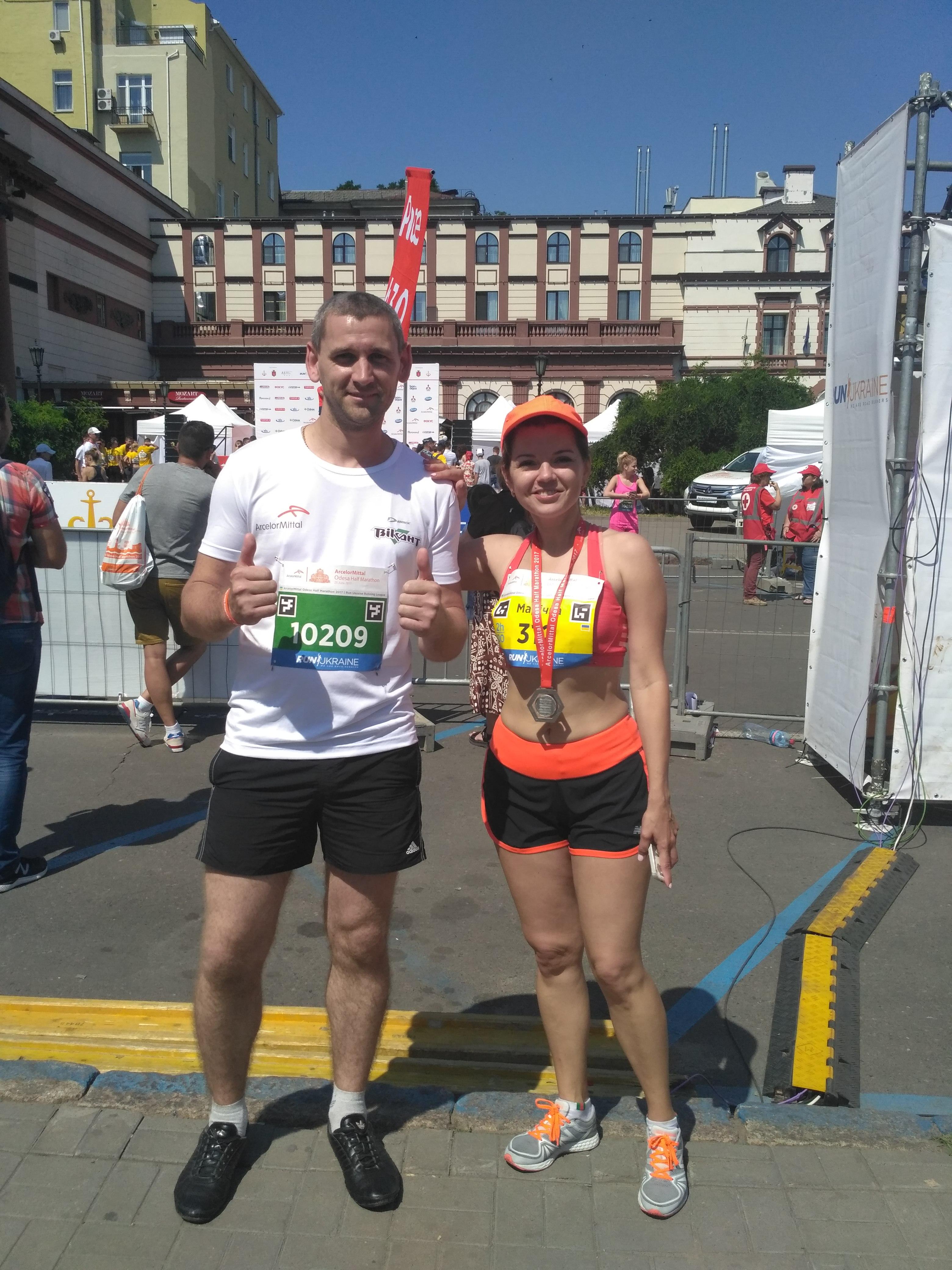 Участь в напівмарафоні - ArcelorMittal Odesa Half Marathon 2017 .. Фото з Марічкою Падалко «width =